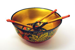 Khokhloma bowl and spoons Stock Photography