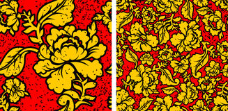 Khokhloma in grunge style. Flowers and noise and scratches. Traditional Russian Folk seamless pattern. Yellow, gold flowers on red background and brush strokes stock illustration