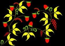 Khokhloma-Malerei auf einem schwarzen Hintergrund Goldene Blätter und Beeren der Walderdbeere Lizenzfreies Stockbild