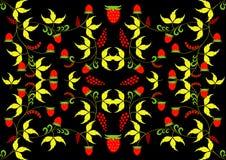 Khokhloma-Malerei auf einem schwarzen Hintergrund Goldene Blätter und Beeren der Walderdbeere Stockbild
