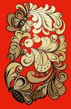Khokhloma-Malerei mit einem Vogel und Schmetterlingen Stockbild