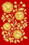 Khokhloma nazionale russo di stile del modello Fotografia Stock