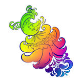 Khokhloma painting colorful rooster. Colorful rooster phoenix Khokhloma painting on a white background Stock Photo