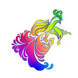Khokhloma painting colorful rooster 2. Colorful rooster phoenix Khokhloma painting on a white background royalty free illustration