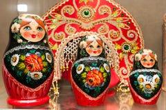 Khokhloma painting wooden matrioshka doll Stock Photography