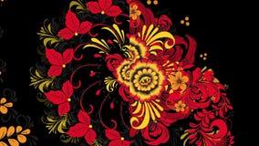 Khokhloma Rússia de flores e de bagas vermelhas brilhantes no fundo preto Animação Khokhloma ilustração do vetor