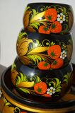 Khokhloma, Russian patterns. Russian art, Russian culture craftsmanship, cups placed on each other stock photography