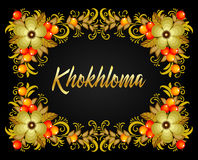 Khokhloma Russian style background, banner with text. Vector illustration Royalty Free Stock Photo