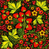 Khokhloma seamless pattern. Seamless pattern in floral folk tradition with berries on black Royalty Free Stock Photos