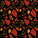 Khokhloma. Seamless pattern ornated with traditional russian khokhloma style elements Stock Photo