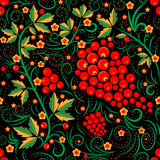 Khokhloma  seamless pattern in russian tradition. Black background Stock Images