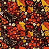 Khokhloma seamless pattern in slavic folk style. Khokhloma  seamless pattern in slavic folk style, black backdrop Royalty Free Stock Photo