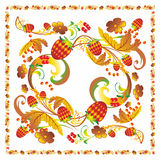 Khokhloma style ornament. Pattern tablecloth berries strawberry leaves strawberries currants Stock Photos