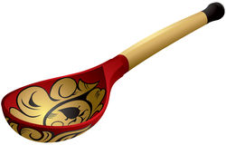 Khokhloma style Russian wooden spoon Royalty Free Stock Photo