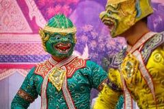 Khon - тайский традиционный танец маски Стоковые Фото