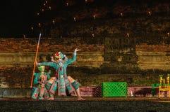 KHON (被掩没的舞蹈)艺术和文化表现在泰国 库存图片