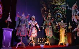 Khon Ausstellung im Reisen-Thailand-Ereignis lizenzfreie stockfotografie