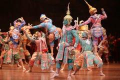 Khon dansdrama från Thailand Arkivbild