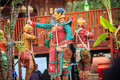 Khon es danza tradicional de clásico tailandés enmascarado cultura del arte Fotografía de archivo libre de regalías
