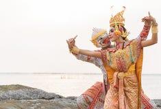 Khon jest tradycyjnego tana dramata sztuką Tajlandzki klasyczny zamaskowany dla fotografia royalty free