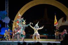Khon jest tradycyjnego tana dramata sztuką Tajlandzki klasyczny zamaskowany w Tajlandia Zdjęcie Stock