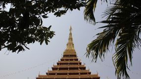 Buddhist Temple. Nine Layers Temple With Palm Leaf royalty free stock photo
