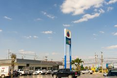 Gas station with clouds and blue sky in evening time stock photo