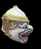 Khon Mask of Ramayana Story. In Thailand.Isolate Photo.Blackground is Black Royalty Free Stock Images