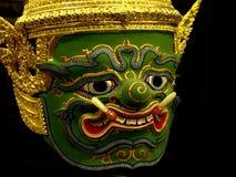 Khon Mask of Ramayana Story. In Thailand.Isolate Photo.Blackground is Black Stock Image