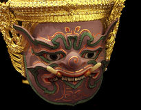 Khon Mask of Ramayana Story. In Thailand.Isolate Photo.Blackground is Black Stock Photography