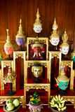Khon Masks, Thailand. Khon Masks is situated on the set of altar table Royalty Free Stock Images