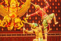 Khon performance, the battle between giant and evil in literature the Ramayana epic. Khon is Thai classic masked play, culture and stock images