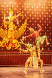 Khon performance, the battle between giant and evil in literature the Ramayana epic. Khon is Thai classic masked play, culture and stock photo