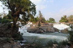 Khon Phapheng waterfall on river Mekong at four thousand island Royalty Free Stock Photos