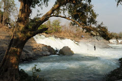 Khon Phapheng waterfall on river Mekong at four thousand island Stock Photos