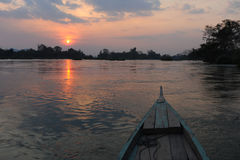 Khon PhaphSunset on river Mekong at four thousand island Royalty Free Stock Photo