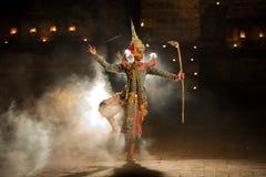 KHON Rama Character TAILANDÉS en la historia de Ramayana en la literatura tailandesa i foto de archivo