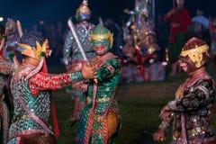 Khon Ramakien or Ramayana drama dancing Stock Image