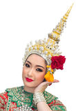 Khon show beautiful women and  traditional costume Royalty Free Stock Photo