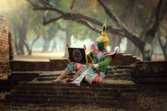 KHON TAILÂNDIA o caráter na história de Ramayana do melhor d tailandês fotos de stock royalty free