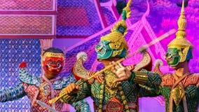 Khon - Tajlandzki Tradycyjny Maskowy taniec Zdjęcie Royalty Free