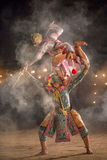 Khon thai föreställningskonst av ramayanaberättelsen som dansar det bästa av T royaltyfri fotografi