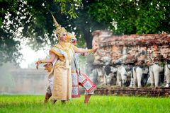 [KHON THAI,RANAYANA MASKED] Thai traditional dance of the Ramayana dance drama at old temple in Ayutthaya, Art culture Thailand D royalty free stock photography