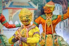 Khon - thailändsk traditionell maskeringsdans Royaltyfri Foto