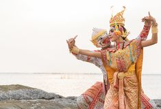 Khon is traditional dance drama art of Thai classical masked fro. M literature Ramayana royalty free stock photography