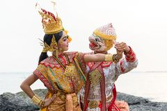 Khon is traditional dance drama art of Thai classical masked fro. M literature Ramayana stock photo
