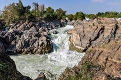 Khone Falls em Don Kone, 4000 ilhas, Laos Foto de Stock Royalty Free