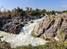 Khone Falls i Don Kone, 4000 öar, Laos Arkivbilder