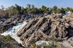 Khone Falls i Don Kone, 4000 öar, Laos Fotografering för Bildbyråer