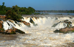 Khone Falls, Laos. Powerful Khone Falls on Mekong river in Laos Stock Image